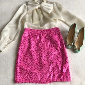 Kate Spade pink guipure lace skirt size 4
